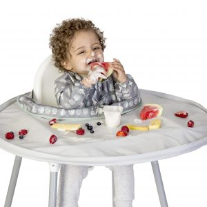 Tidy Tot Apple and Pear bib with grey tray - boy fruit