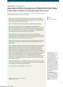 Association of Early Introduction of Solids With Infant Sleep