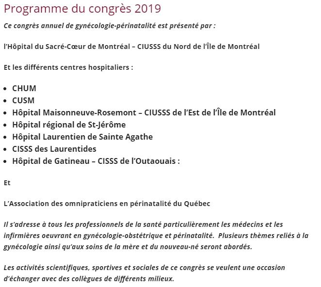 Programme congrès gynécologie-périnatalité 2019